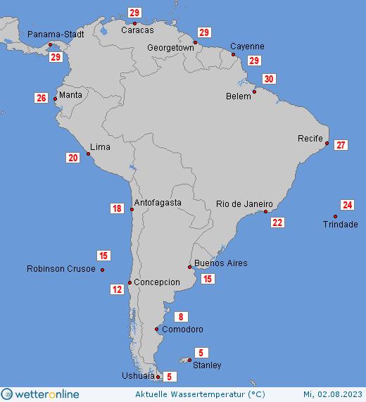 teplota moří v Jižní Americe