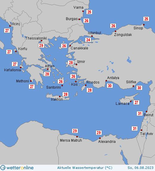 Teplota Středozemního moře