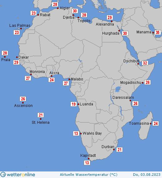 teplota moří v Africe