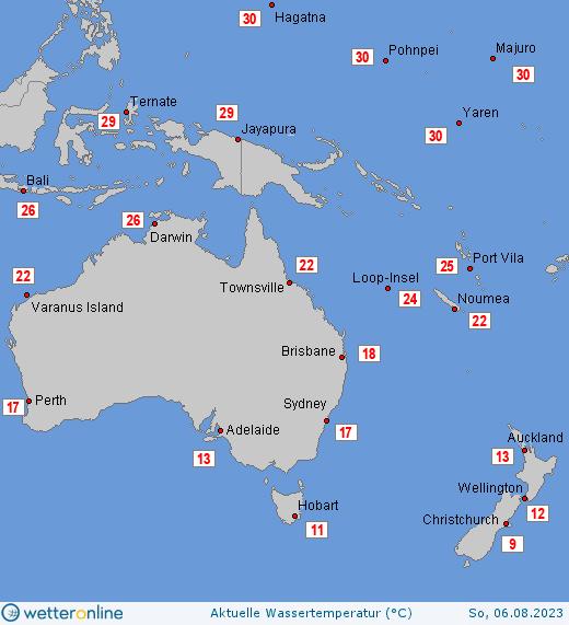 teplota moří v Oceánii